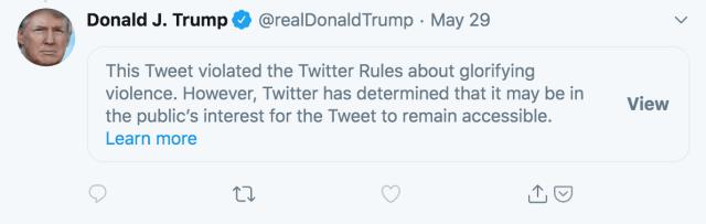 Twitter obscured a Trump tweet