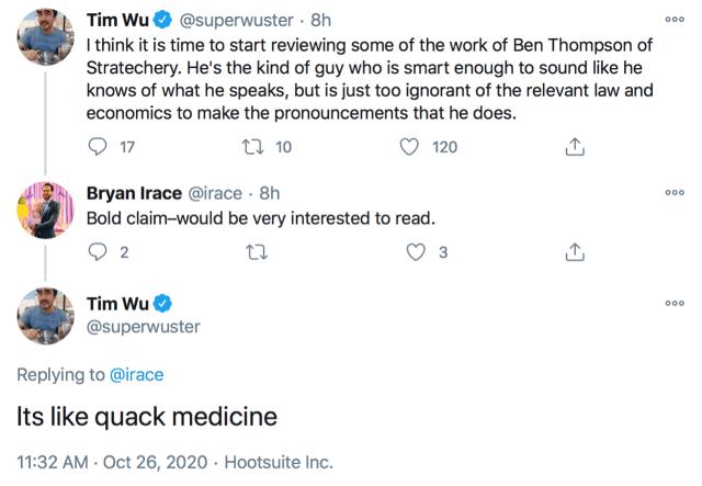"""Tim Wu's tweet calling Stratechery """"Quack Medicine"""""""