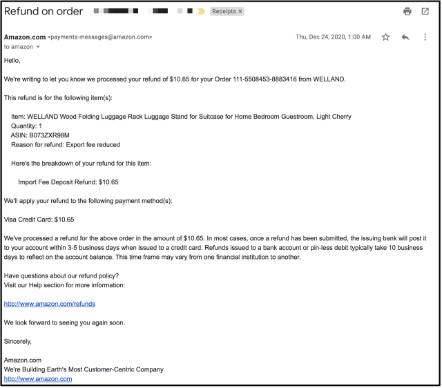 An email from Amazon about a refund for customs fees