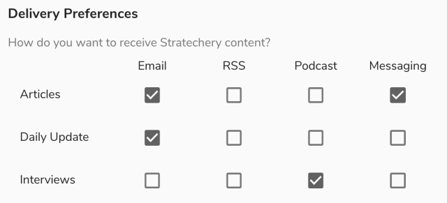 Members can choose what content to receive where