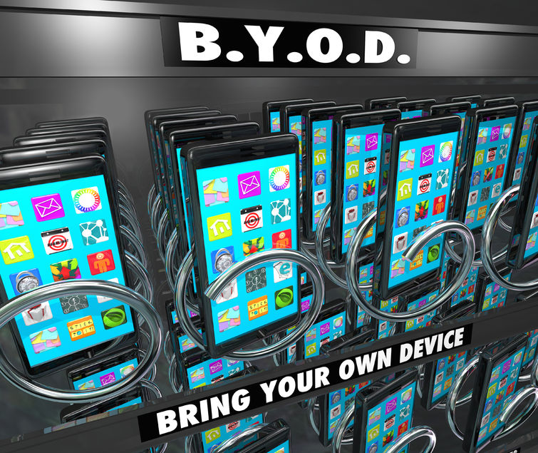 27380749 - byod bring your own device words on a smart cell phone vending machine to illustrate a company encouraging its employees to buy and use their own mobile hardware and computers at work