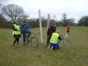 Moving the Goalposts, 3-Sided Football Match, Greenwich Observatory, intervening in the imperial control of time and space. Goals fixed to bikes, continuously changing location, rotating across the meridian, uniting east with west in a spiral motion - the onset of Jorn's complexity vandalism.