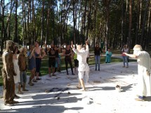 Ritual preparation for game at Alytus Psychic Strike Biennale, Lithuania, Auguest 2015
