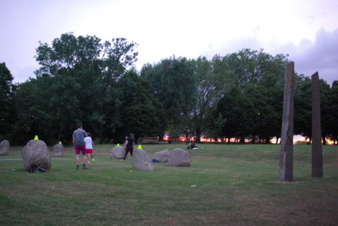 Experimental Archeology - Summer Solstice Stone Circle Three-Sided Football Tridecadal Beanfield Commemoration Clash