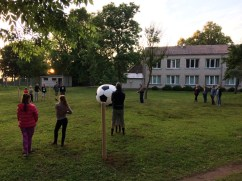 Large Hadron Supernova Game of three-sided football in an abandoned school, Dreverna, Lithuania, 2017 vulg.