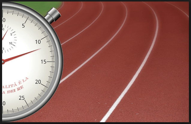 A stopwatch on a racetrack, representing time management