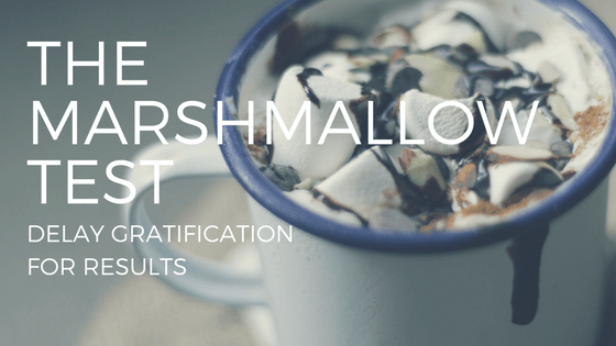 marshmallows with text reading the marshmallow test