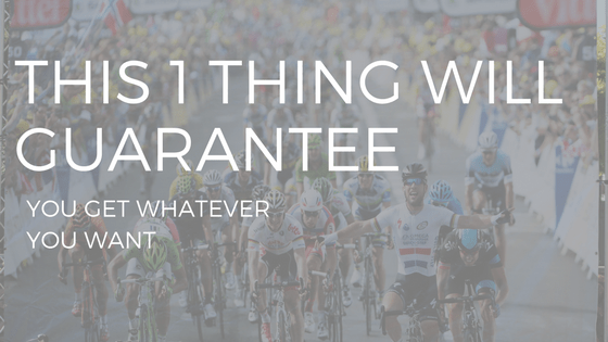 "TEXT READING ""THIS ONE THING WILL GUARANTEE YOU GET WHAT YOU WANT"" OVER A BIKE RACE"