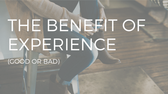 "THE TEXT READS ""THE BENEFIT OF EXPERIENCE"" OVER A PERSON TYING THEIR SHOES"