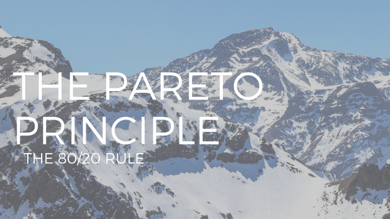 "TEXT"" THE PARETO PRINCIPLE"" OVER PHOTO OF MOUNTAIN WITH BLUE SKY"
