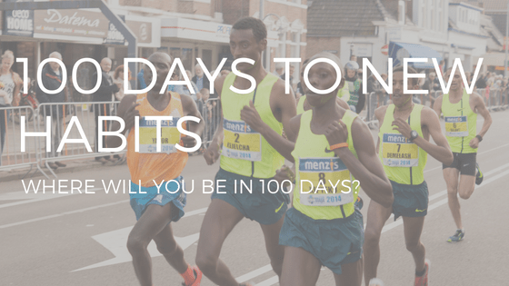 "The Text ""100 days to new habits"" over a photo of marathon runners."