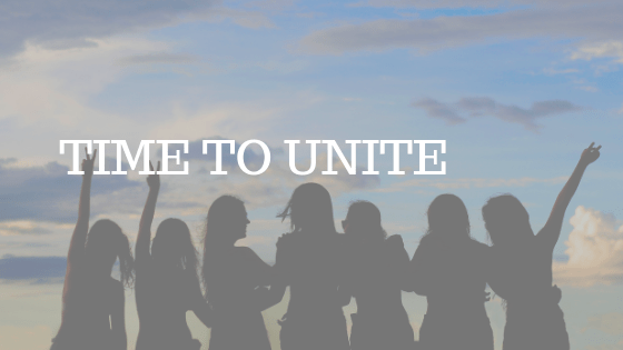 """GROUP OF PEOPLE STANDING IN SILHOUETTE WITH WHITE TEXT READING """"TIME TO UNITE"""""""