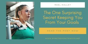 """Text reading """"The one secret keeping you from your goals"""" and a woman working out"""