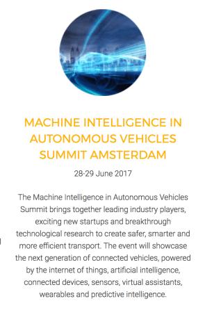 Machine Intelligence in Autonomous Vehicles Summit Amsterdam