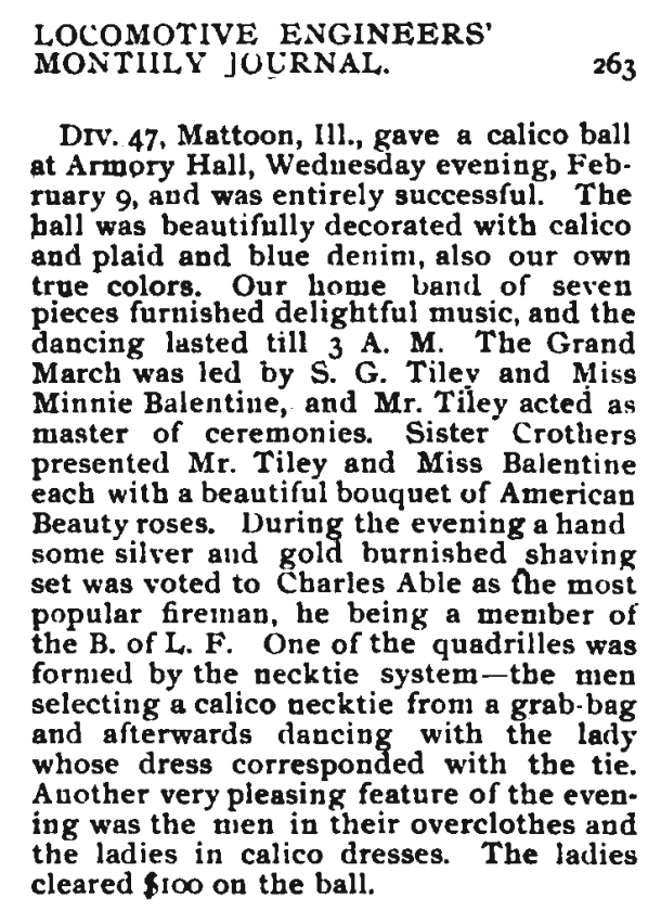 calico necktie dance from the Locomotive Engineers' Journal, April 1898.