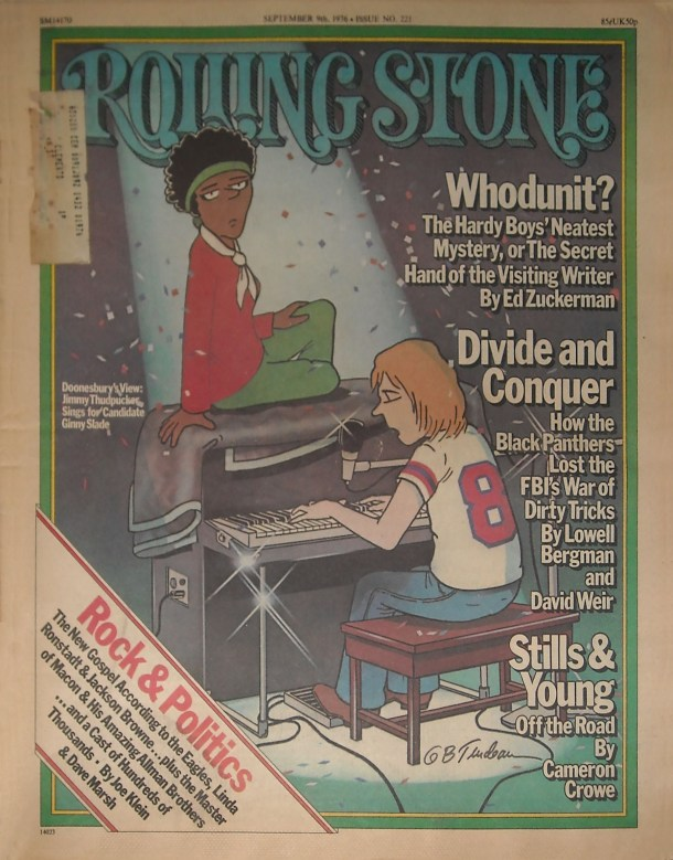 "Cover of Rolling Stone magazine containing Ed Zuckerman's article, ""The Great Hardy Boys Whodunit."""