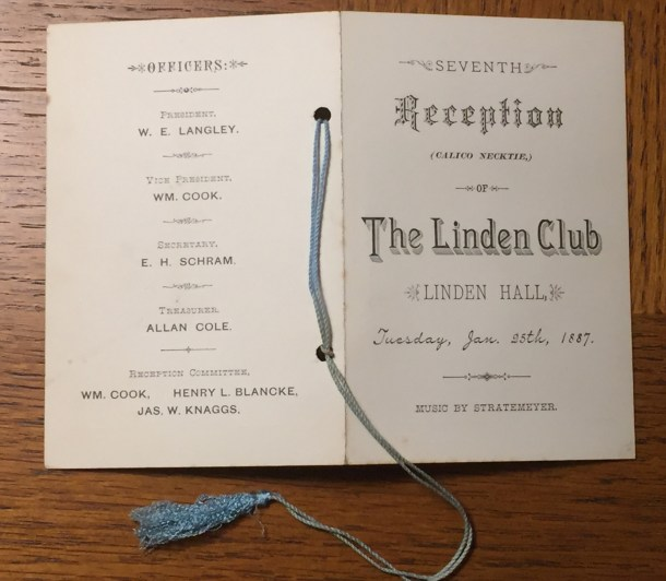Linden Club Dance Card for Calico Necktie dance