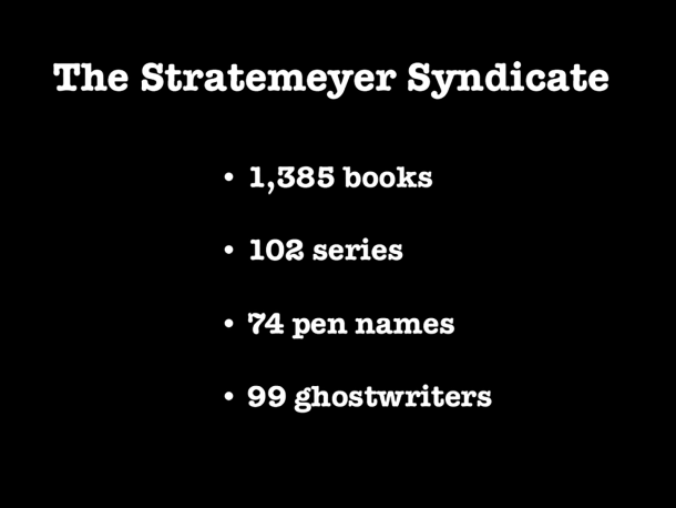 Stratemeyer Syndicate stats, including 1,385 books, 102 series, 74 pen names, 99 ghostwriters.
