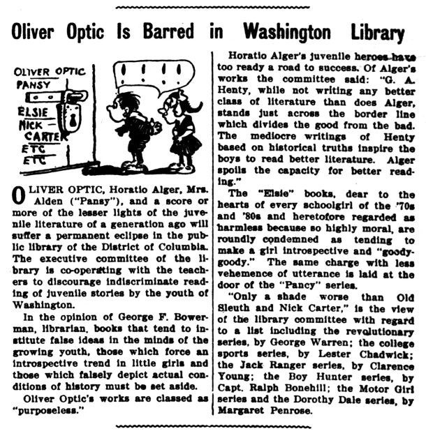 Oliver Optic Barred from Library