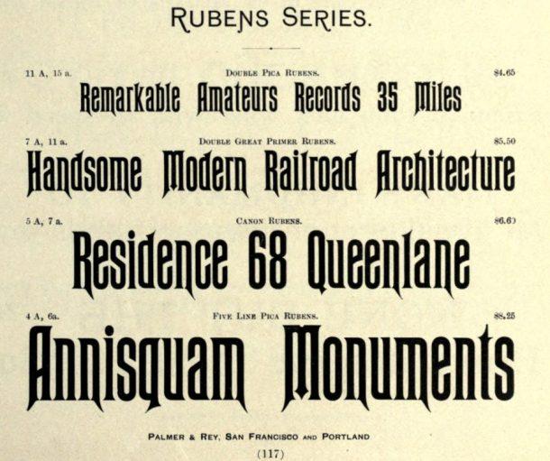 Rubens typeface from Palmer & Rey type specimen book, 1887.