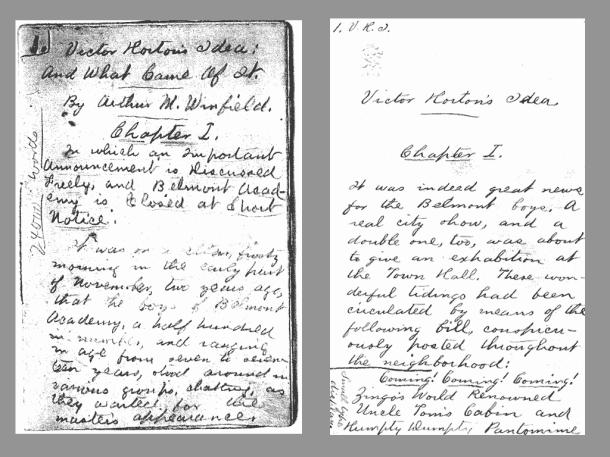 Victor Horton manuscript by Stratemeyer