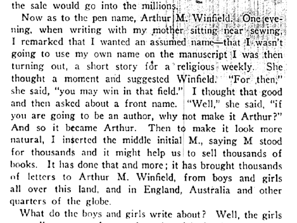 origins of pen name Arthur M Winfield