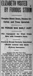 New York Times article of August 3, 1899 describing the rare tornado that struck Elizabeth, New Jersey.