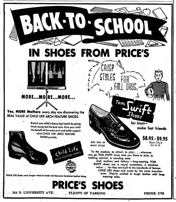 Advertisement for Tom Swift Shoes, August 15, 1954.