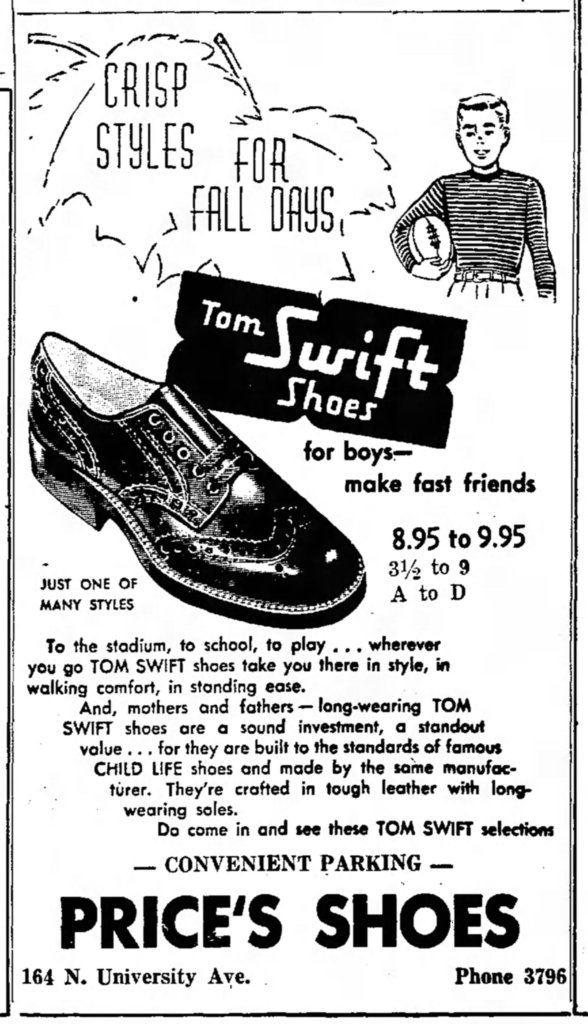 Advertisement for Tom Swift Shoes, October 17, 1954.