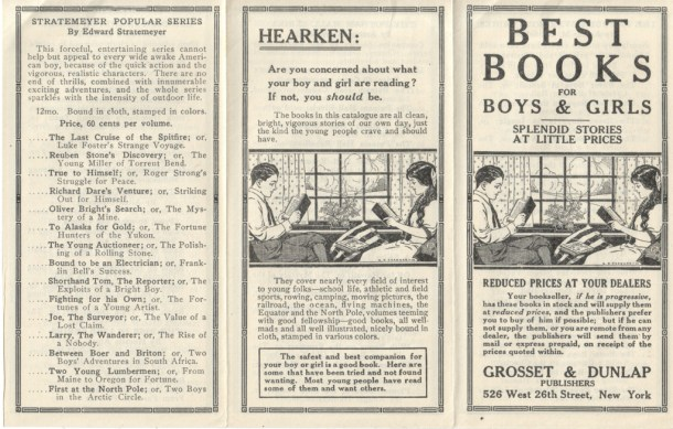 Part of a Grosset & Dunlap pamphlet called Best Books for Boys and Girls, 1914.