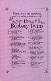back cover of purple Bobbsey Twins