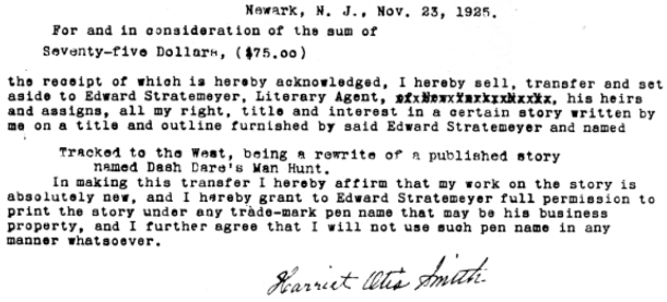 Release for Nat Ridley signed by Harriet Otis Smith