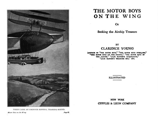 Frontispiece illustration and title page from The Motor Boys on the Wing (1912).