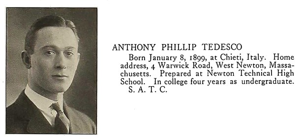 Harvard University yearbook photo for 1923 of Anthony Phillip Tedesco.