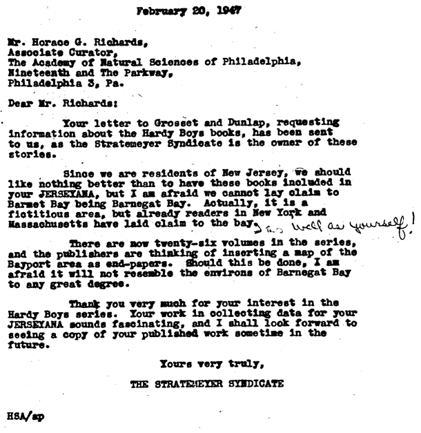 1947 letter from the Stratemeyer Syndicate about the location of Bayport.