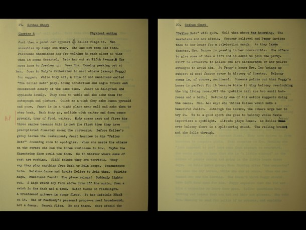 "Two pages of the outline from chapter 8 where the ""high point"" of the plot is indicated in the margin."