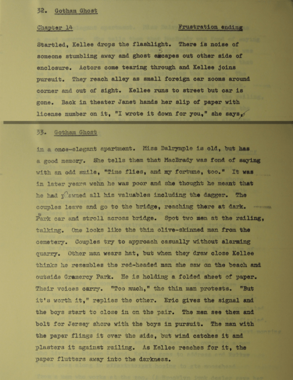1965 outline indicating a frustration chapter ending.