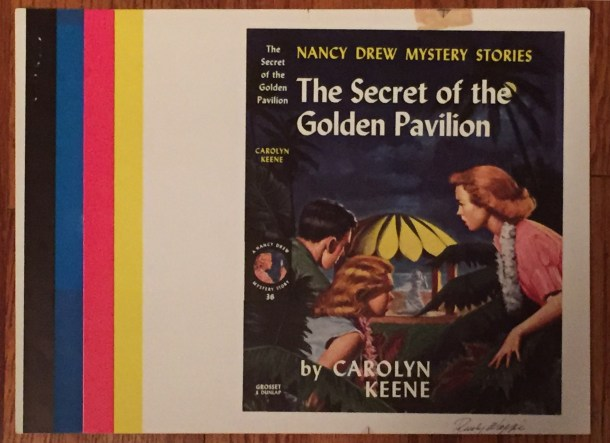 Rudy Nappi's color proof for Nancy Drew volume 36, The Secret of the Golden Pavilion (1959).