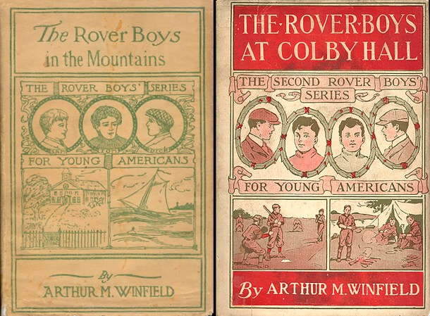 Examples of two Rover Boys dust jackets from the first and second series.