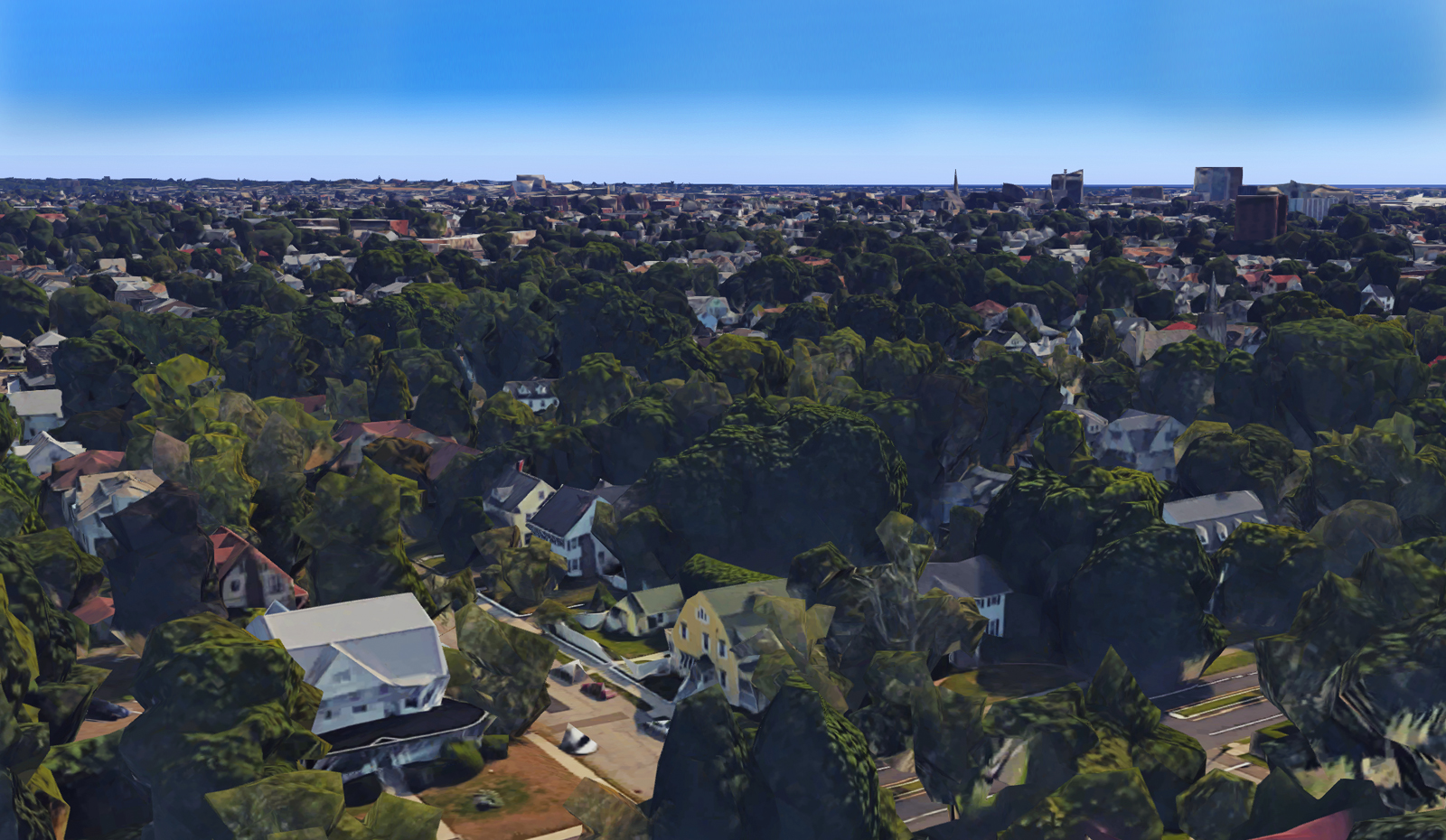 aerial view of the Stratfield Historic District