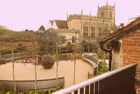 Shakespeare's New Place - the view from the deck across to the Guild Chapel ©Stratfordblog.com