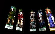 The stained-glass windows at The Play's The Thing ©Stratfordblog.com