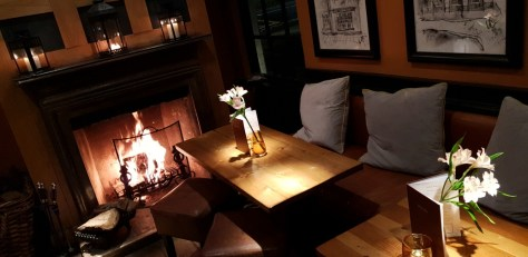 The log fire at The Encore, for chillier sessions of Bottomless Bubbles ©Stratfordblog.com
