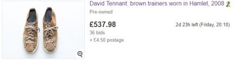 Trainers worn by David Tennant - the current highest-priced item in the RSC costume auction on eBay