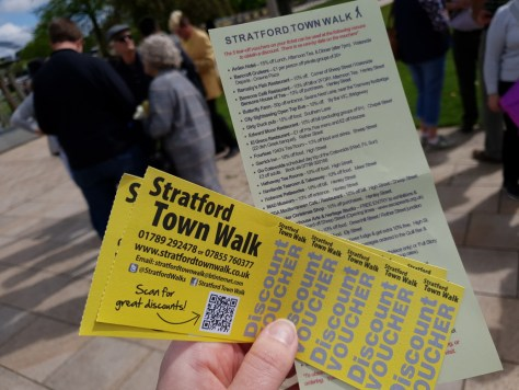 Discount vouchers given with tickets for the walk ©Stratfordblog.com