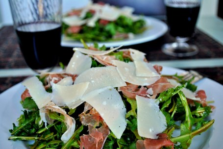 Arugula Prosciutto and Parmesan Salad with Balsamic Vinaigrette