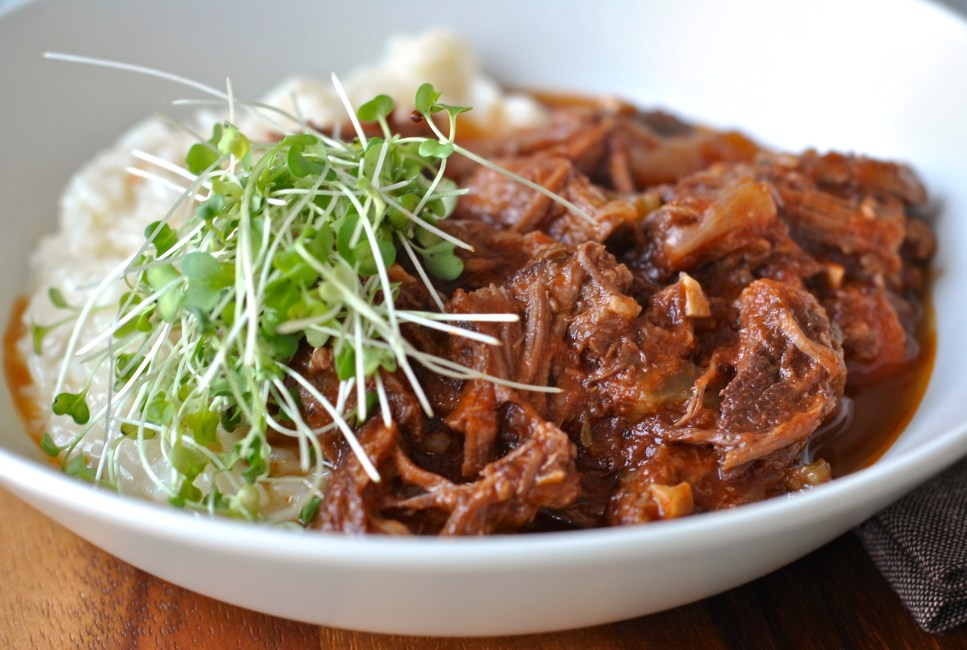 Braised Short Rib Ragout served with a simple risotto.