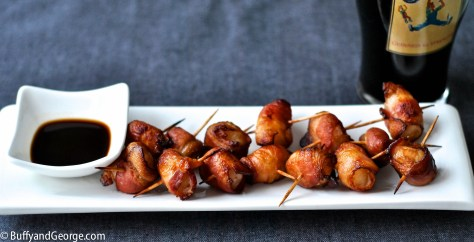 Bacon Wrapped Water Chestnuts roasted and served with Worcestershire Sauce.