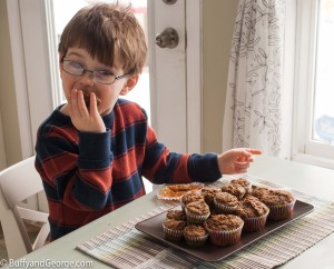 Timothy is devouring his muffins. He ate about 4 the day I made these.