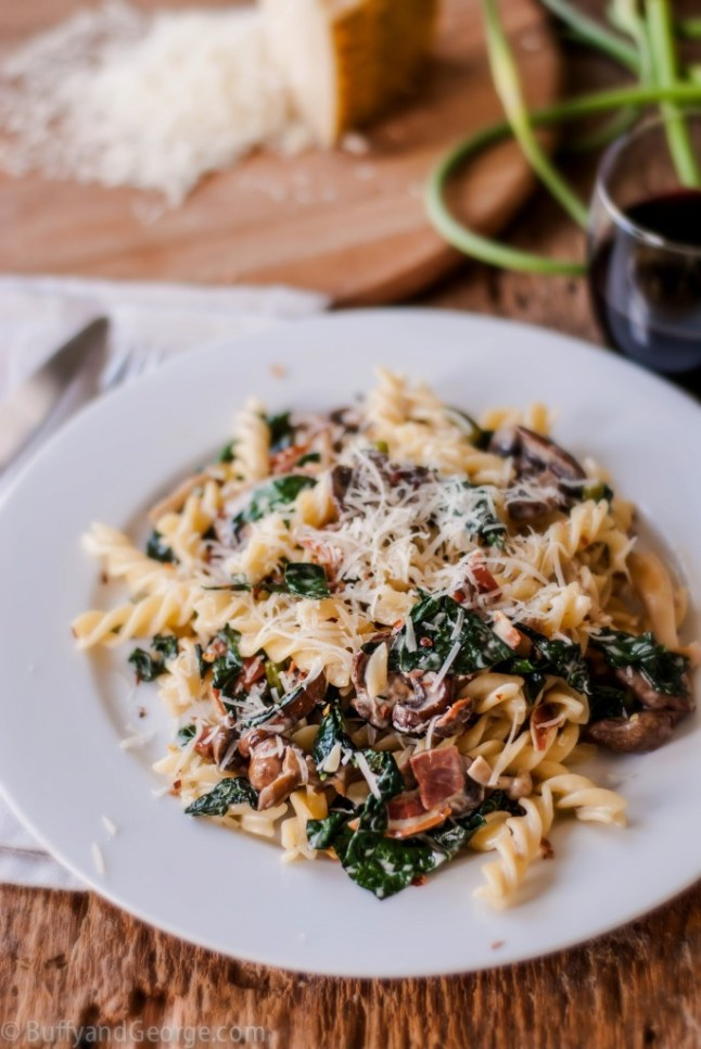 Creamy Pasta with Kale, Mushrooms & Pancetta - Strawberries For Supper